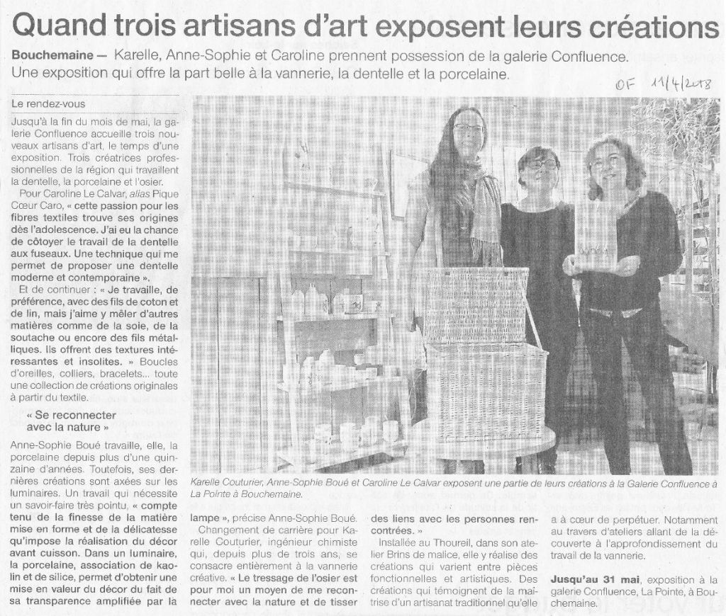 Atelier Brins de Malice - vannerie d'art - Article Ouest France du 11 avril 2018
