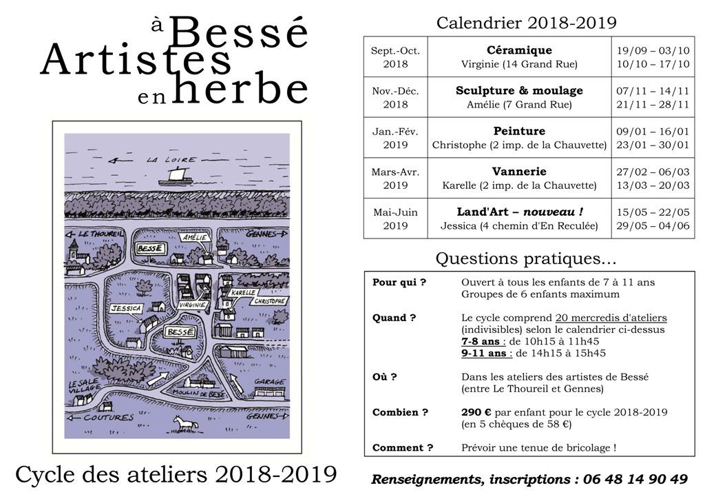 Artistes en Herbe à Bessé Programme 2018-2019